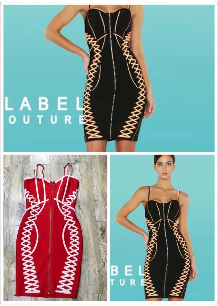 Top Quality Red Black Sling Front Zipper Rayon Bandage Dress ...