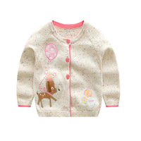 Girls Cardigans 2017 Autumn Kids Sweaters Long Sleeve Cotton Rainbow Jackets Embroidery Dog Girl Sweater 2