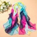 2015 новый Женский жоржет длинный шарф многоцветный тонкие шифоновые шарфы красочные пляжные полотенца бесплатная доставка 160*50 см