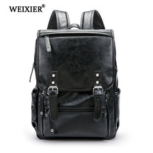 WEIXIER 2019 New Fashion Hot Pure Color PU Mens Computer High Quality Backpack Handsome Boy Multi-Functional Student School Bag