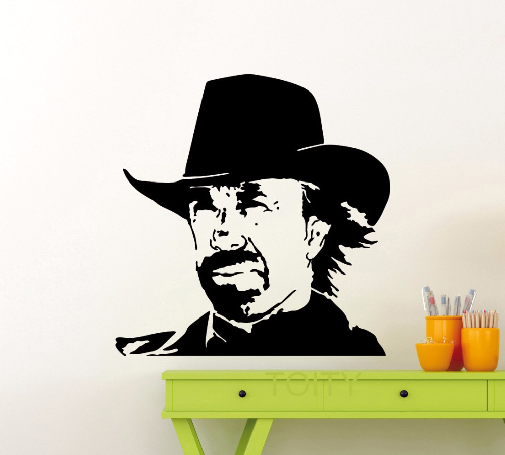 Chuck norris wall sticker texas cowboy vinyl decal classic for Cowboy wall mural