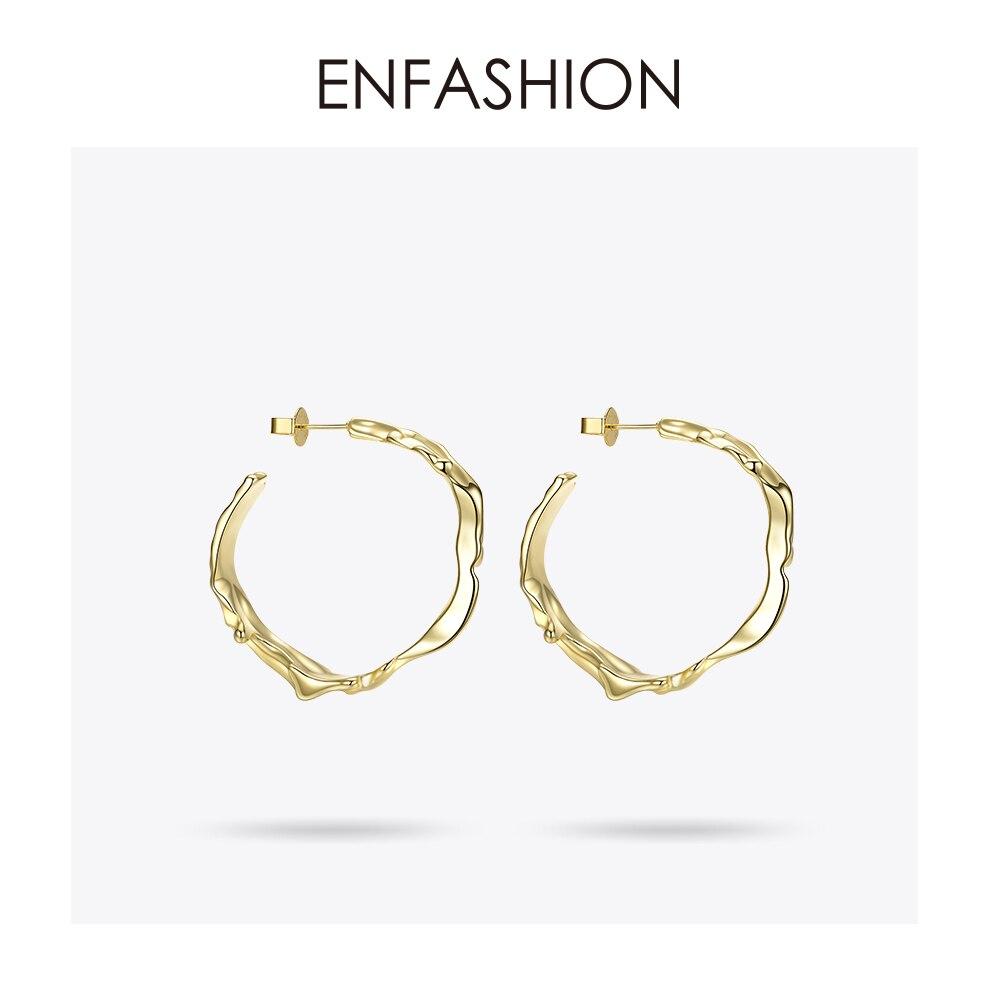 Enfashion Water Wave Hoop Earrings Gold Color Circle Irregular Big Earings Hoops Fashion Jewelry For Women Pendientes Aro EM1002
