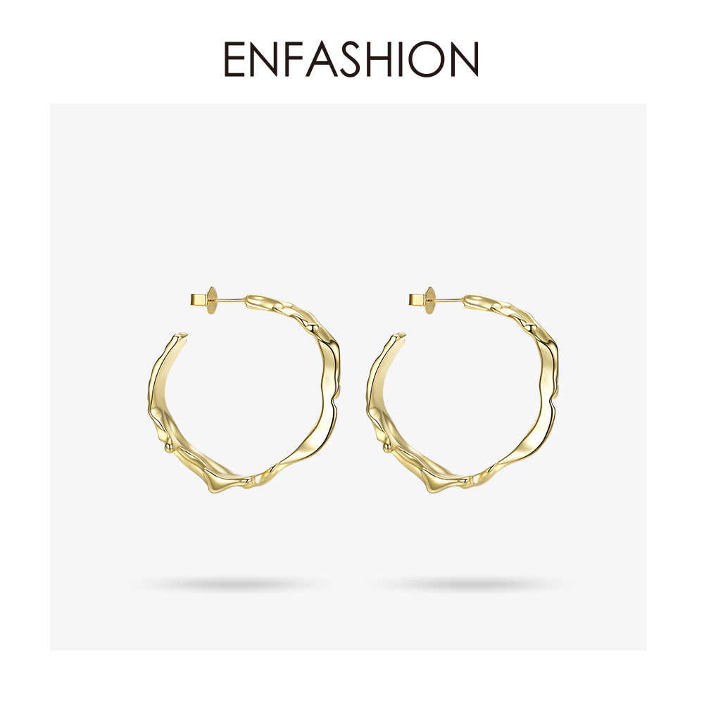 Enfashion Water Wave Hoop Earrings Gold Color Circle Irregular Big Earings Hoops Fashion Jewelry For Women Pendientes Aro EM1002