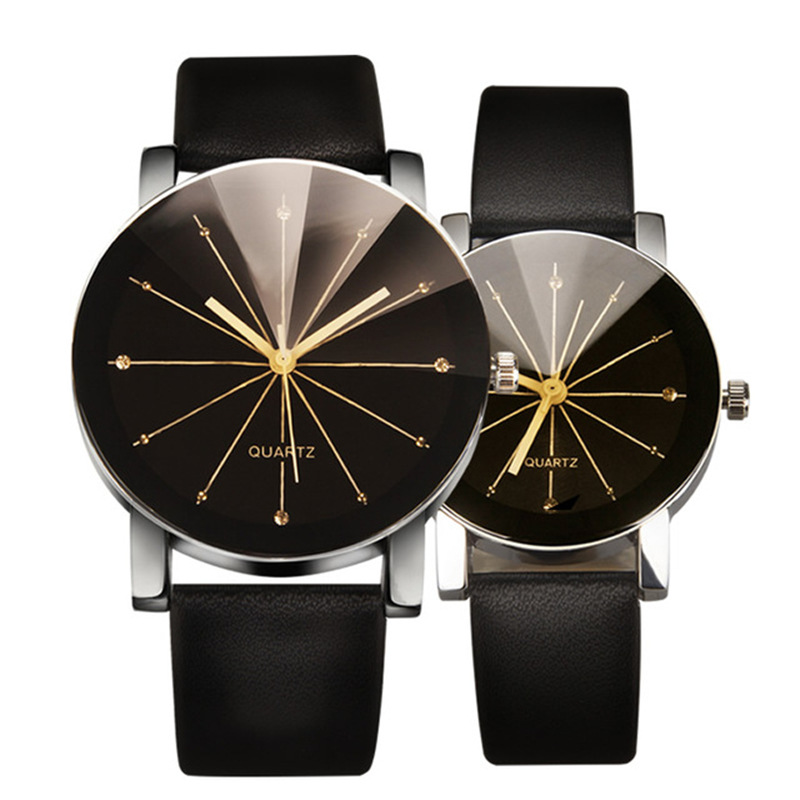 2Pcs Couple Watches Simple Trendy Sun Ray Pattern Round Dial Fashion Quartz Watches Female Male Clocks Relogio Feminino 0867