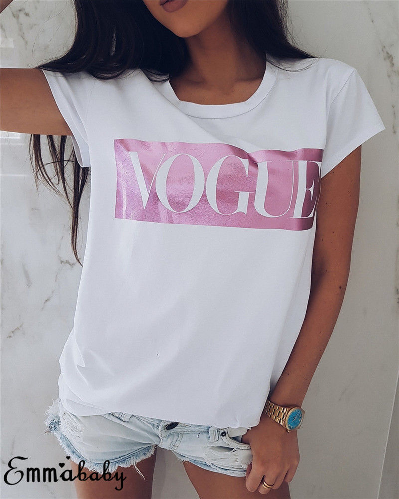 Women   T     Shirt   VOGUE Letter Printing Brand   T  -  shirt   Casual Loose Short Sleeve O Neck Female   T     Shirt