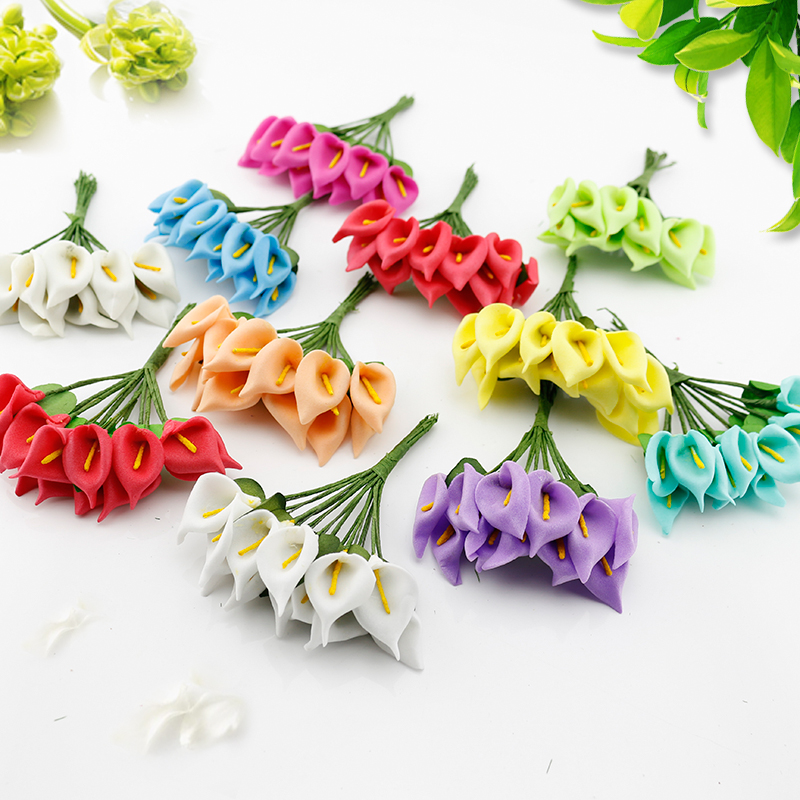 12 pcs Mini Foam Calla Handmake Artificial Flower Bouquet Wedding Decoration DIY Wreath Gift Box Scrapbooking craft Fake flower