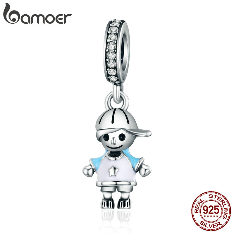 BAMOER 2018 New 100% 925 Sterling Silver Couple Little Girl & Boy Pendant Charm fit Girls Charm Bracelet DIY Jewelry SCC544