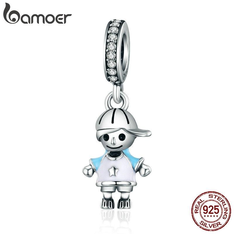 BAMOER 2018 New 100% 925 Sterling Silver Couple Little Girl & Boy Pendant Charm fit Girls Charm Bracelet DIY Jewelry SCC544
