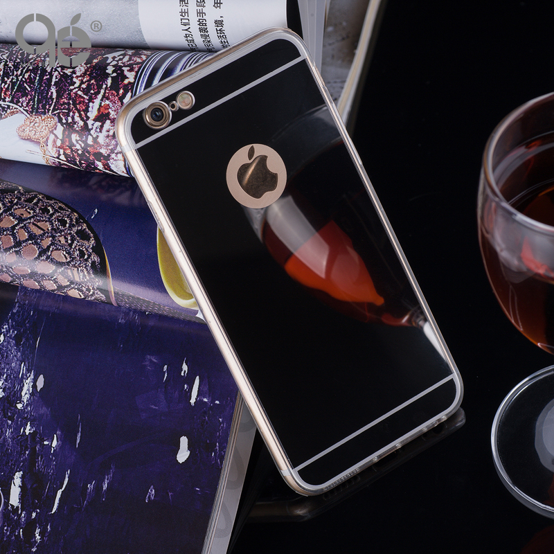Moda de lujo mirror soft case tpu cubierta de marco para iphone 5 5s sí 6 6 s 7