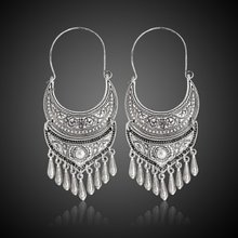 Women Tibetan Silver Tassel Earrings Retro Carved Dangle Earrings(China)