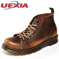 Зимние высокие рабочие Обувь Для мужчин кожаные плюшевые Сапоги и ботинки для девочек открытый Повседневное теплые Кружево до Обувь Для му...