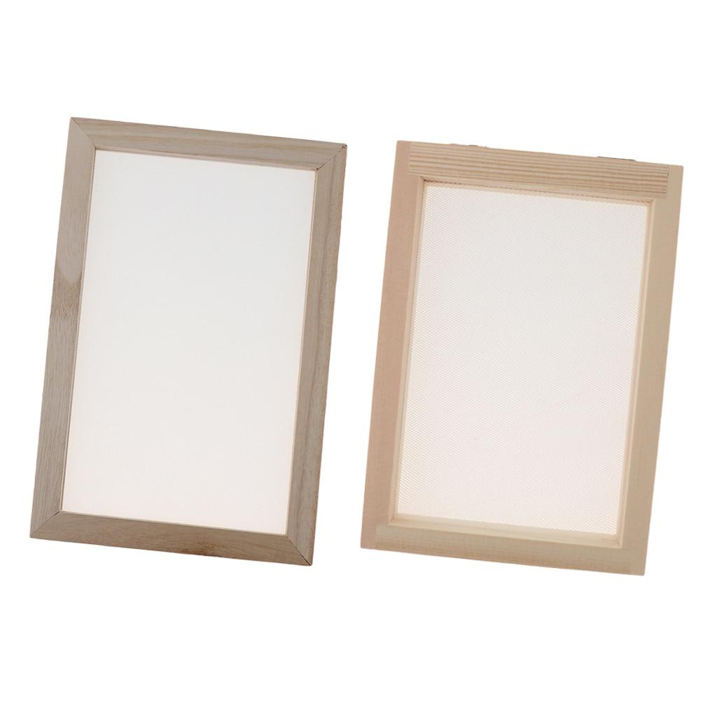 2 piezas de papel de madera Natural, molde para fabricación de papel, Marco, herramientas de pantalla para arte y papel de manualidades, manualidades de papel para manualidades