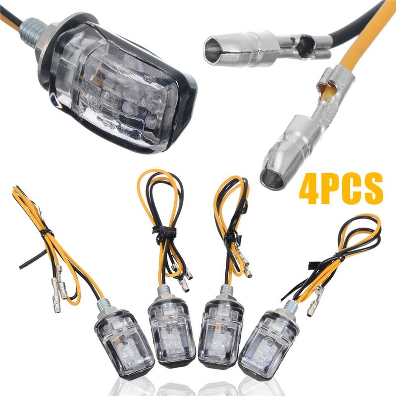 4PCS 12 LED Mini Motorcycle Motorbike Turn Signal Lights Indicators Amber Lamp K