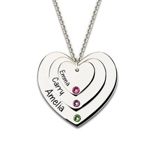 Wholesale Triple Heart Necklace with Birthstones Sterling Silver Engraved Name Necklce Mother Jewelry