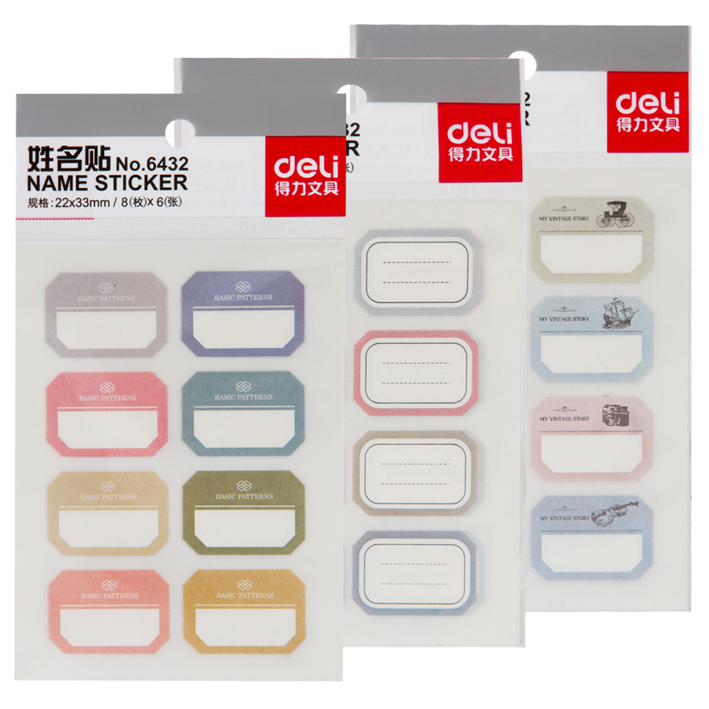 6 Pages/lot Deli Label Stickers Name Stickers Post It Pages Index Office Supplies Stationery Accessory