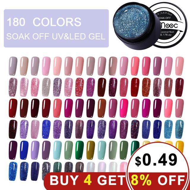 LEMOOC 5 ml צבע ג 'ל צבע UV ציפורניים ג' ל פולני משרים כבוי נייל ארט לכה 180 צבעים גליטר נייל קשת ציור ג 'ל