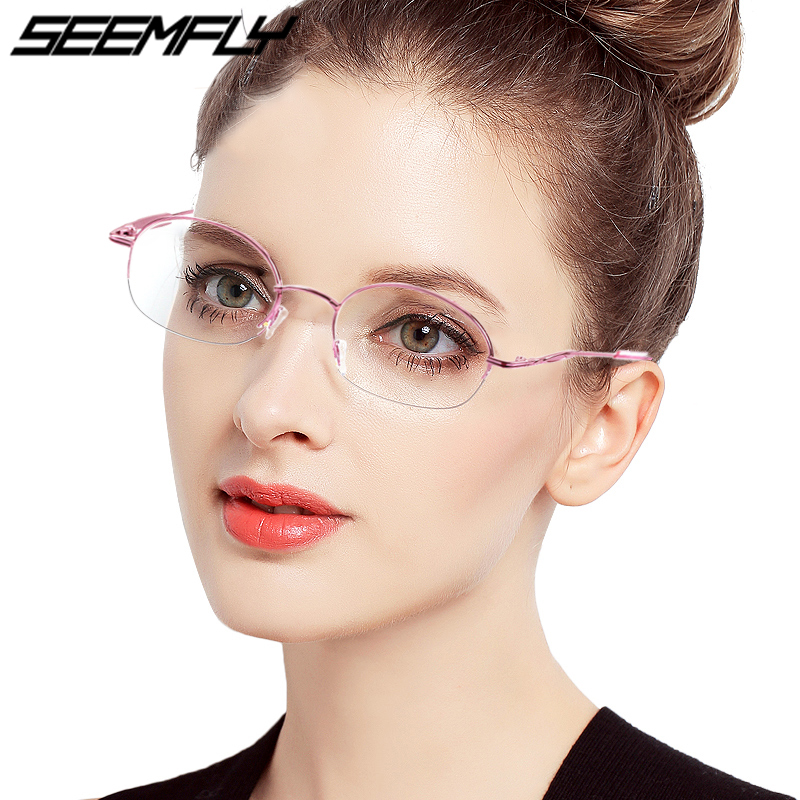 Seemfly Diopter -1 -1.5 -2 -2.5 -3 -3.5 -4 -4.5 -5 -5.5 -6 Finished Myopia Glasses Women Metal Half Frame Nearsighted Eyeglasses