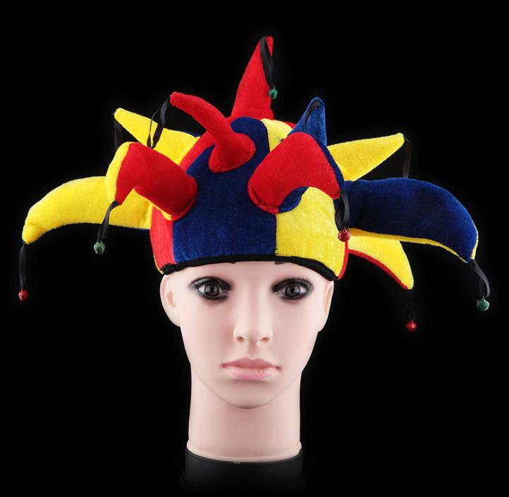 Halloween Cosplay Accessory Fashion Three/Seven/Thirteen Angles Hat Clown Pattern Caps Carnival Cap For Adult Kids New