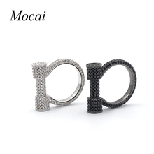 Horse Hoof Steampunk Rings For Women Black White Full Zircon Party Jewelry Horseshoe New Charms Punk Lady Ring ZK30