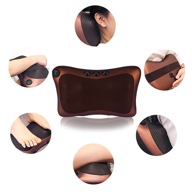Head Neck Body Massage Pillow Heating Kneading Home Car Dual Use Body Cervical Lumbar Waist Leg Pain Relief Massager Health Care