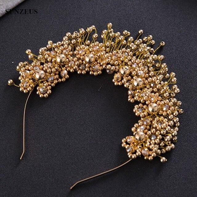פנינים בעבודת יד כלה בגימור עם כתר כלה גבישי זהב/כסף חתונת שיער אבזר SQ0177
