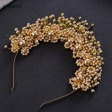 Ręcznie wykonane perły dla nowożeńców z pałąkiem na głowę z kryształami panna młoda korona złoty/srebrny ślubne akcesoria do włosów SQ0177