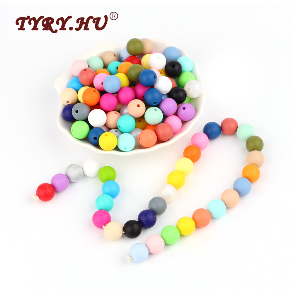 TYRY.HU 100pcs Silicone Beads 12mm BPA Free Baby Teethers Natural  Round Beads Baby Teething Toys Nursing Pacifier Chain Tools