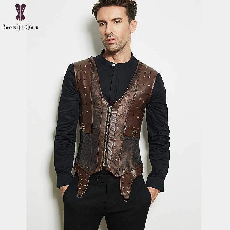 Steampunk Men Corset Retro Vintage Outfit Faux Leather Vest Style Punk Korset Gothic Brown Underbust Steel Bone Slimming Bustier