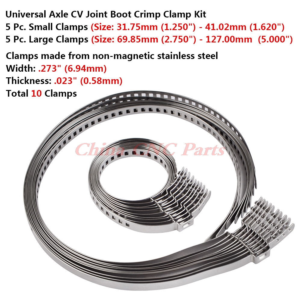 NICECNC 10PCS Stainless Steel Drive Shaft CV Boot Clamp Kit Adjustable AXLE CV Joint Boot Crimp Clamp Car Motor ATV Dirt Bike