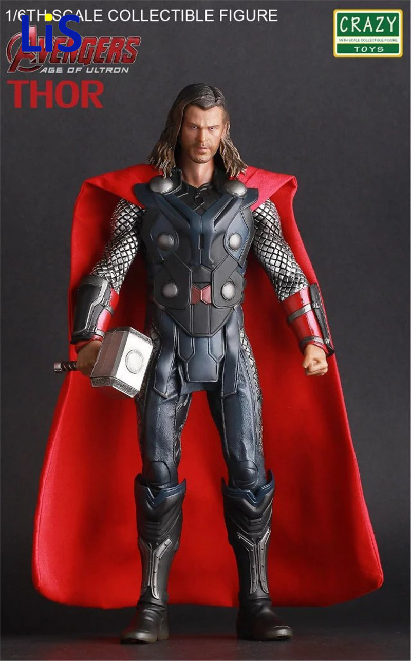 Lis Crazy Toys Acengers Age of Ultron Thor PVC Action Figure Collectible Model Toy 30cm hot 12v 50a 600w 100 264v electronic transformer high quality safy led current driver for led strip 3528 5050 power supply