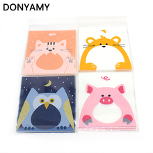 10cm*10cm 400Pcs Cookie 4 Animals Big Mouth Self Adhesive Plastic Packing Bags Biscuit Cupcake Baked Food Package Pouches