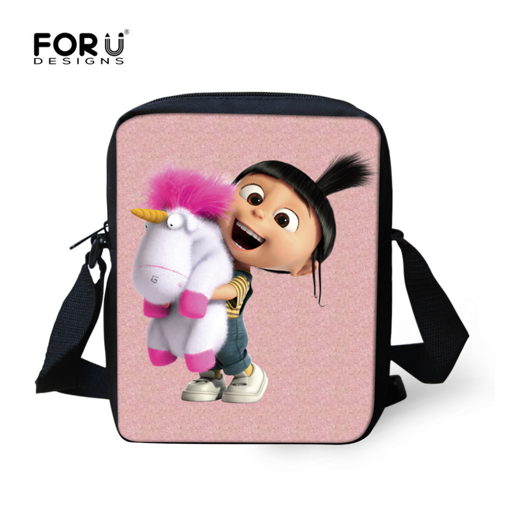 FORUDESIGNS Newest Cartoon agnes despicable me Unicorn Bag for Women Girls Messenger Bag Small Cross Body Bags Children Gift Bag despicable me unicorn minion stuffed
