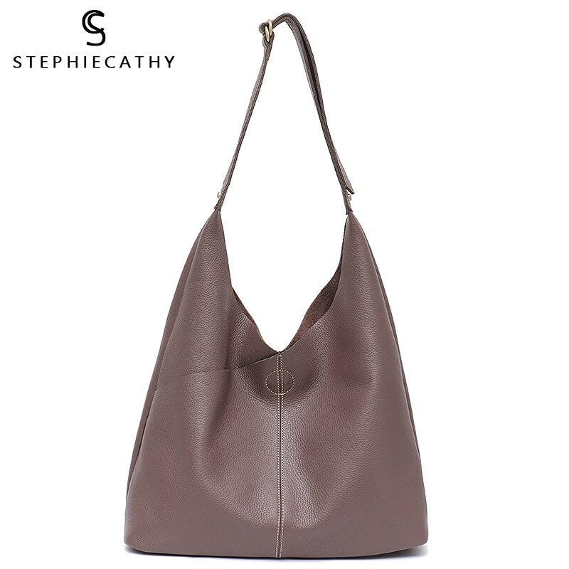 SC จริงหนัง Hobo กระเป๋าสำหรับผู้หญิงหญิงไหล่กระเป๋าหนังแท้กระเป๋าถือสุภาพสตรีกระเป๋าถือขนาดใหญ่กระเป๋าถือ Crossbody-ใน กระเป๋าสะพายไหล่ จาก สัมภาระและกระเป๋า บน   1