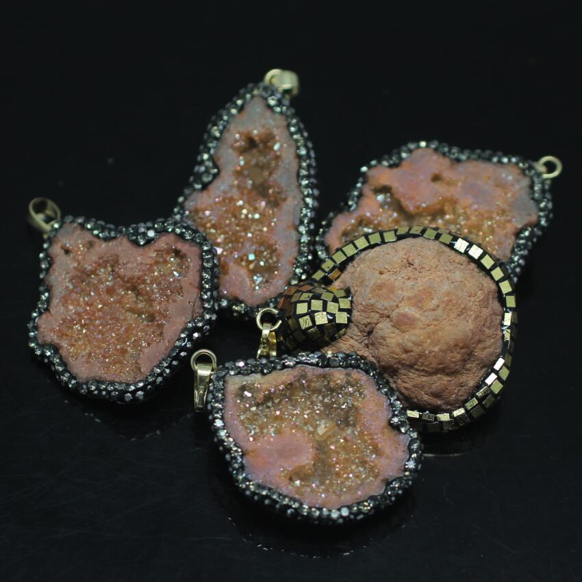 5PCS Natural Orange Titanium Druzy Ag ate Nugget Pendant,Drusy Geode Pave Rhinestones with Gold Foil freeform Slab Pendant