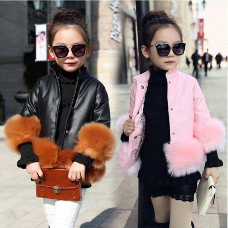 Black Pu Leather Jacket 2016 Hot Sale Spring Girl's Fashion Patchwork Fur Jacket Casual Coat Mandarin Collar Outerwear QV23
