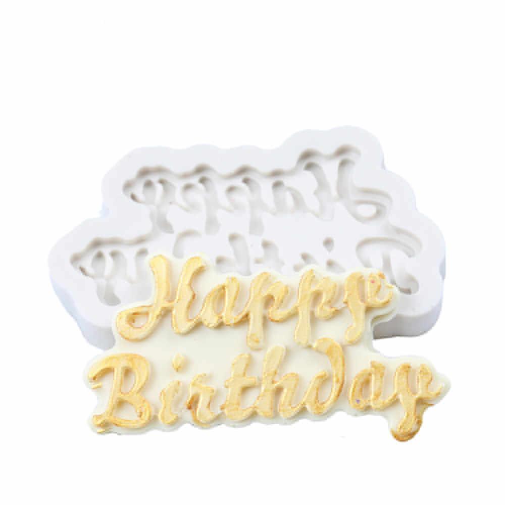 3D с днем рождения торт плесень в форме печенья силиконовый шоколадный торт форма для выпечки декоративные изделия из сахара ручной работы плесень инструмент