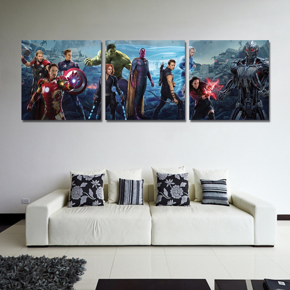 Wall Pictures For Living Room Nordic 3 Panel Movie Captain America Character Decor New Wall Art Canvas Painting Picture Poster