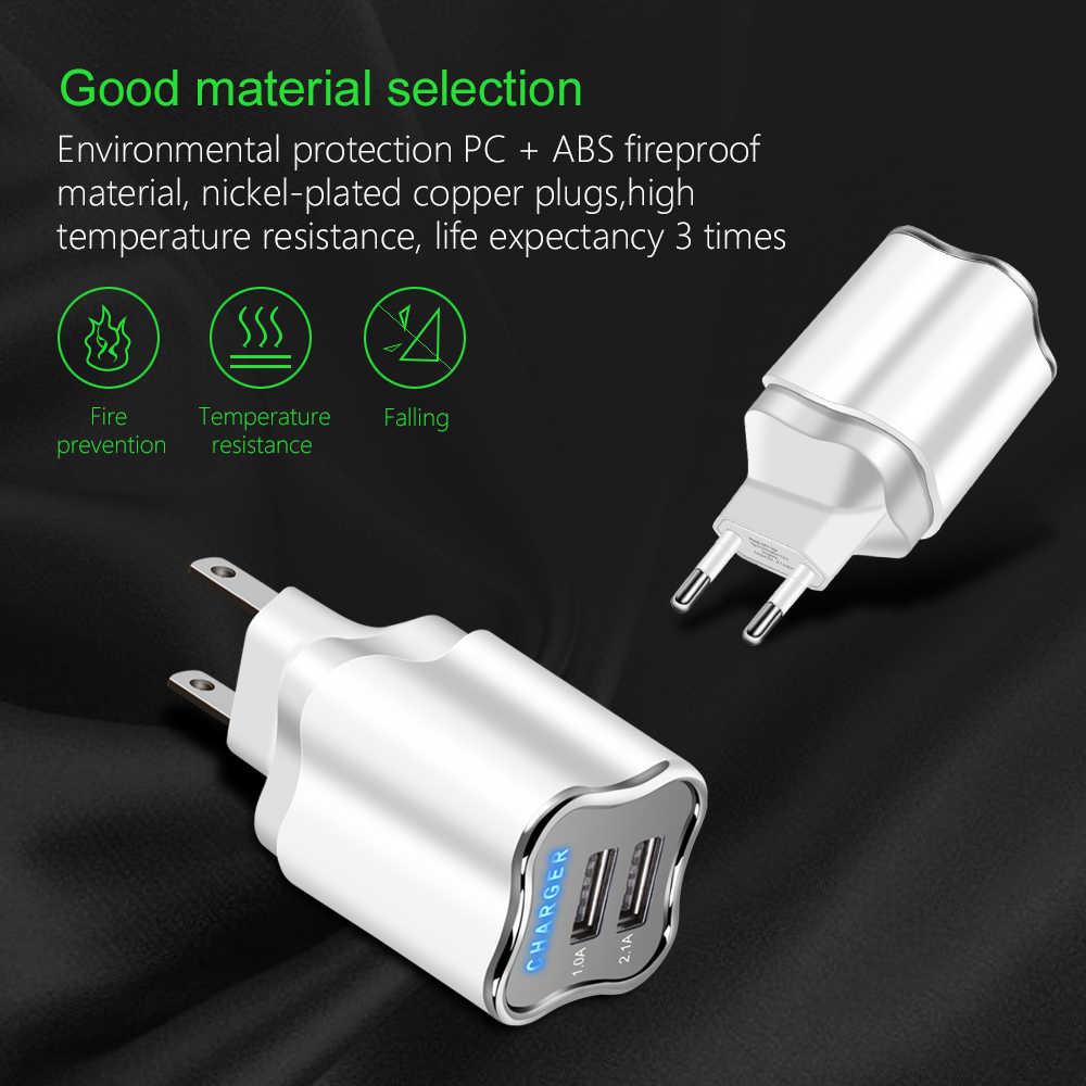 """אמיתי 5V 2.1A LED USB מטען האיחוד האירופי/ארה""""ב 2 תקע טובה טעינה נסיעות קיר נייד טלפון מטענים עבור iphone ipad סמסונג Xiaomi Huawei"""