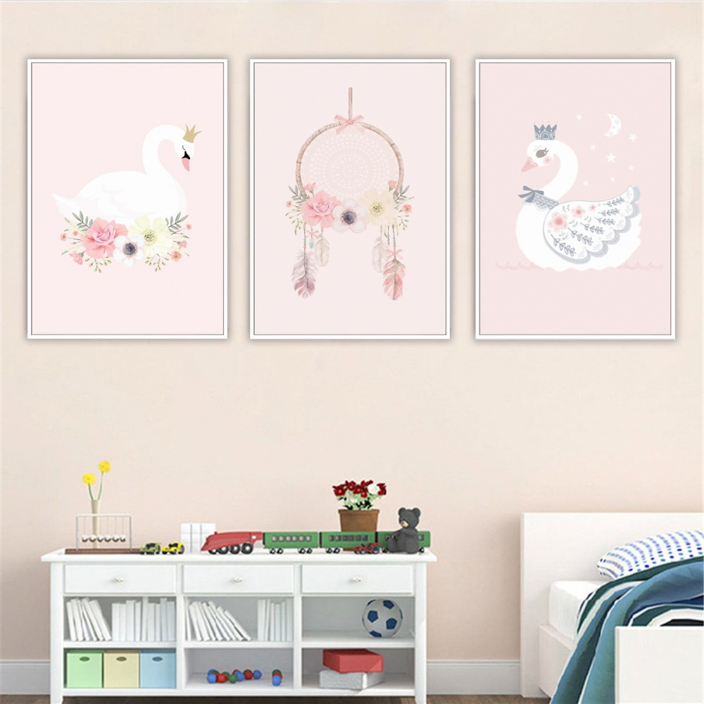 NUOMEGE Wall Art Swan Canvas Painting Kids Room Canvas Art Posters And Prints Pink Nordic Decoration Wall Pictures Home Decor in Painting Calligraphy from Home Garden