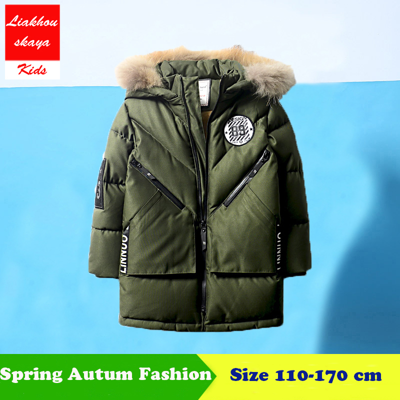 New 2018 Childrens Winter Jacket For Boys Fashion Fur Hooded Thick Cotton-Padded Boy Long Coat Solid Parka Kid Clothes Outwears real fox fur warm hooded padded jacket women solid color casual manteau femme hiver medium long parka slim coat cotton tt3461