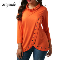 Stigende 2018 Women Cotton T Shirt Three Quarter Sleeve Cowl Neck Top Solid Color Casual Pullover