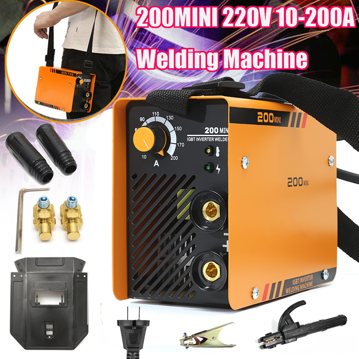 ZX7-200MINI 5.5KW Handheld Mini MMA Electric 220V 10-200A Inverter ARC Welding Machine Tool mos tube 220v welding inverter driven plate you have triggered arc zx7 tig200