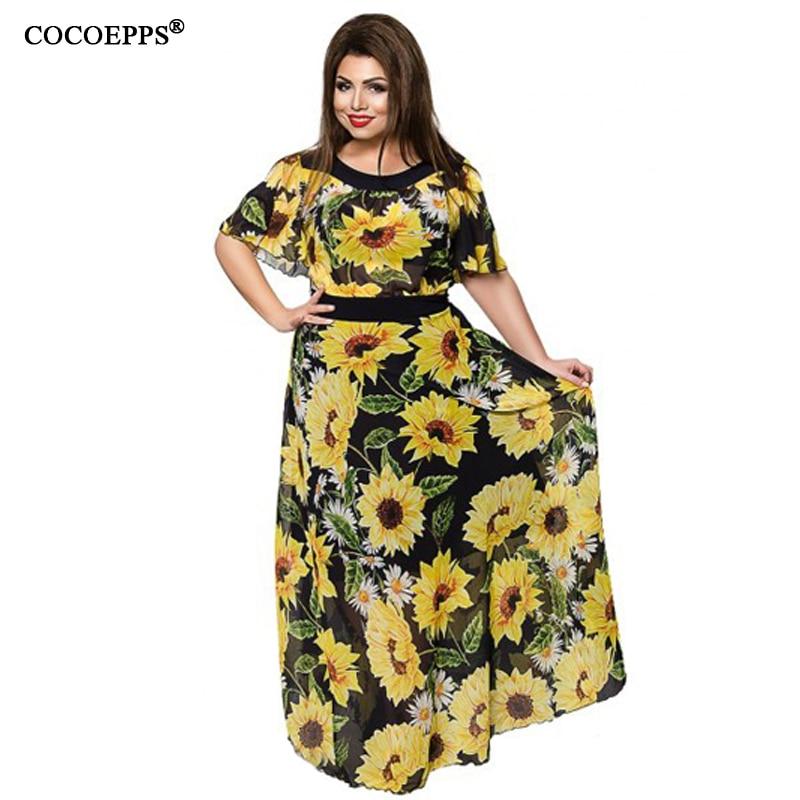Floral Chiffon Langes Kleid 5XL 6XL Elegante 2019 Frauen Sommerkleid - Damenbekleidung