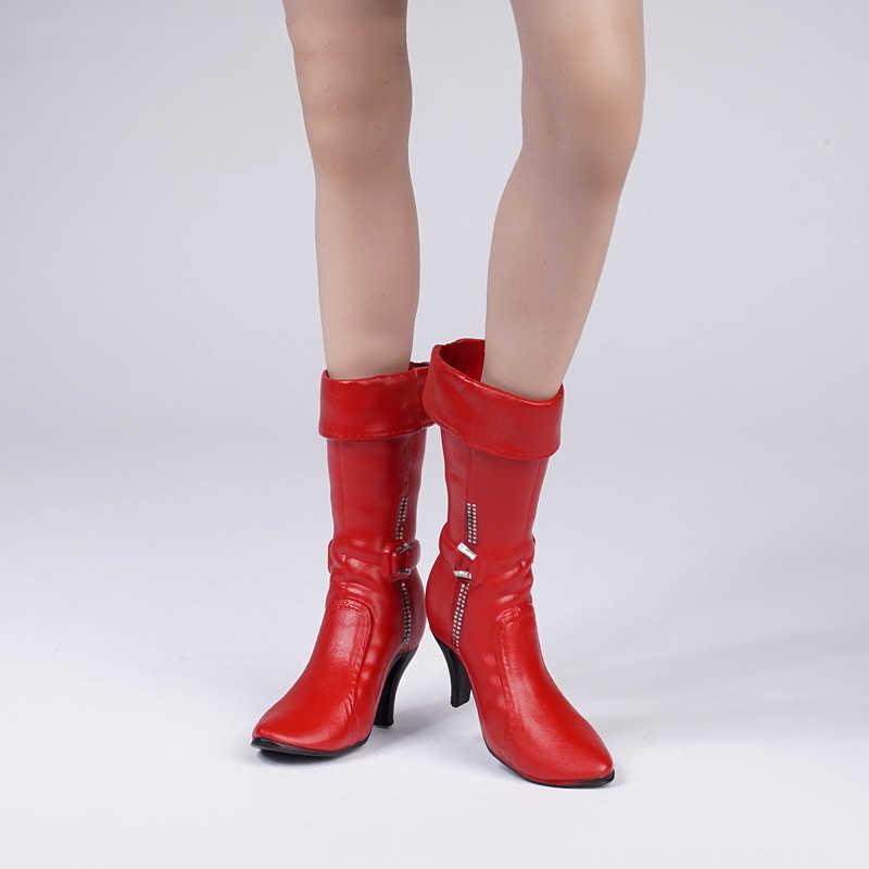 1/6 масштаб женские сапоги модель полный внутри для 12 дюйм(ов) фигурки красно-коричневый и черный