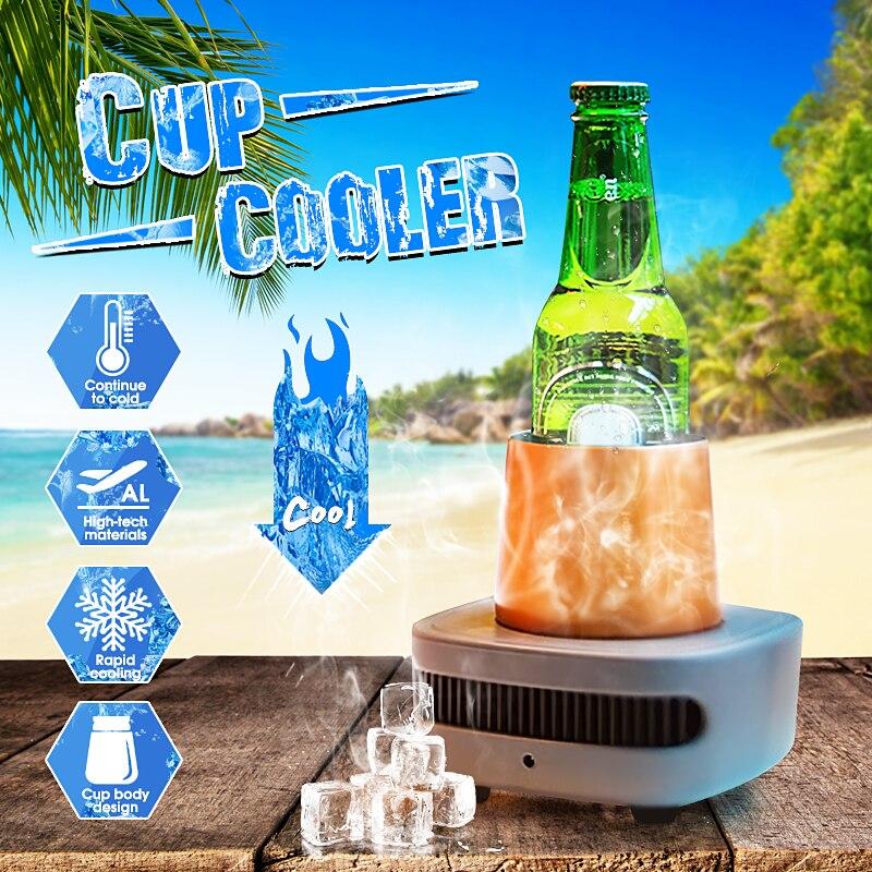DC 12V Aluminum Refrigeration Cup Beer Cooler Keep Favors Beer Beverage Drink Whiskey Wine Holder Chiller for Home Office