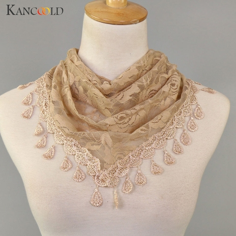KANCOOLD Scarf Women Lace Tassel Rose Floral Hollow Scarves Shawl Lady Wraps Nylon High quality scarf women 2018Nov2 Lahore