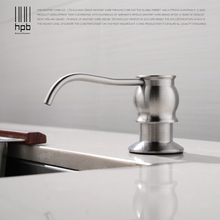 Купить с кэшбэком HPB Brushed Kitchen Soap Dispensers Deck Mounted Soap Dispensers for Kitchen Built in Countertop dispensador de jabon HP4502