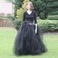 Woman Tulle Skirt 2016 New Fashion Long Black Tutu Skirt Ball Gown With Sashes For Woman All Season High Quality Tulle Skirt