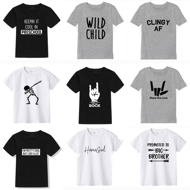 2019 Новая летняя футболка для мальчиков модная детская футболка с принтом для мальчиков, хлопковая футболка с короткими рукавами для маленьких девочек Брендовая детская одежда|Тройники|   | АлиЭкспресс
