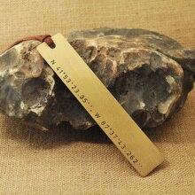 Latitude Longitude Bookmark, Copper bookmark Coordinates, Nautical Location, Wedding Anniversary Boo